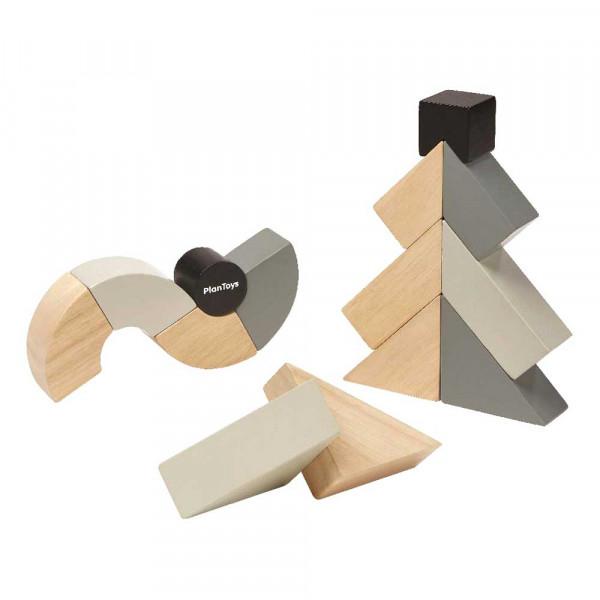 Plan Toys drehbare Holzklötze grau schwarz Holz